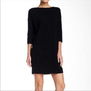 Vince Black Wool Contrast Sweater Dress